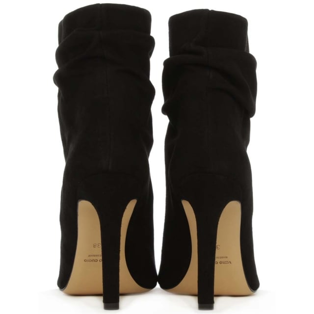 Daniel Bloomington Black Suede Rouched Peep Toe Ankle Boot
