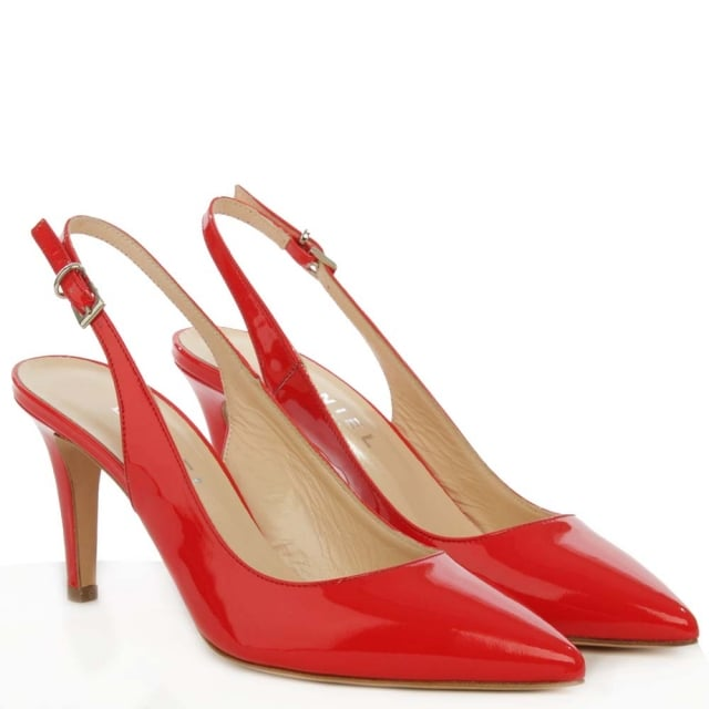 Daniel Summersville Red Patent Leather Pointed Toe Sling Back Court Shoe