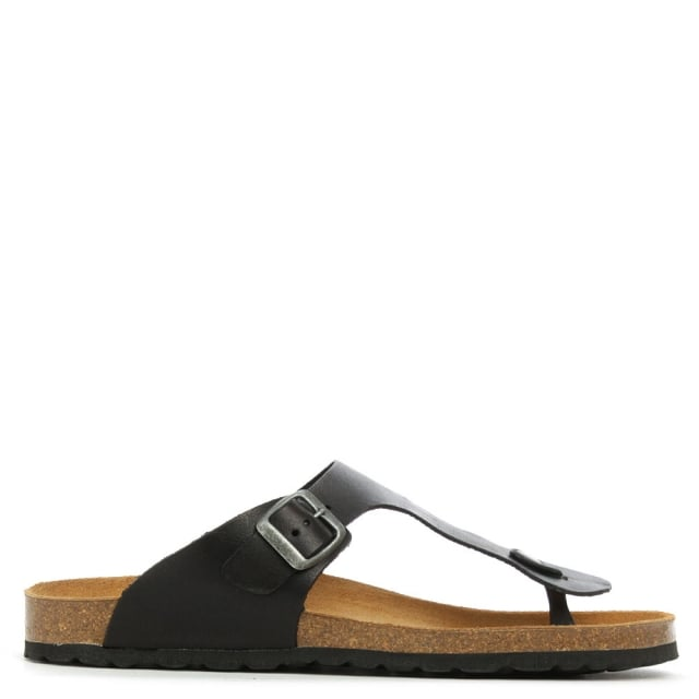 Daniel Chippenham Men's Black Leather Toe Post Sandal