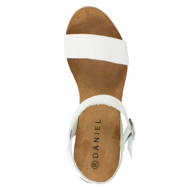 DF By Daniel Ryther White Leather Corked Wedge Sandal
