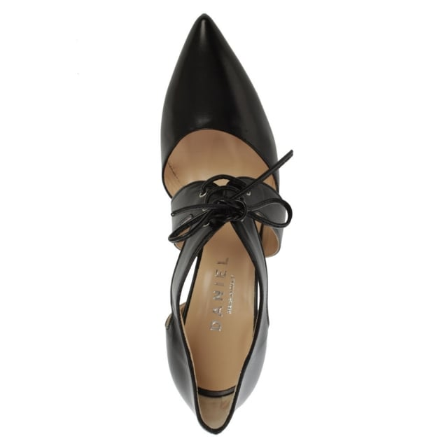 Daniel Whitestone Black Leather Lace Front Court Shoe