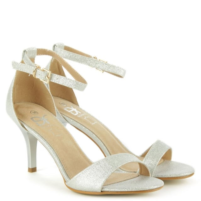 DF By Daniel Waverton Silver Glitz One Strap Sandal