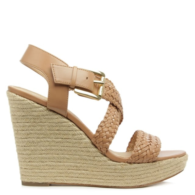 Michael Kors Giovanna Tan Leather Woven Wedge Sandal