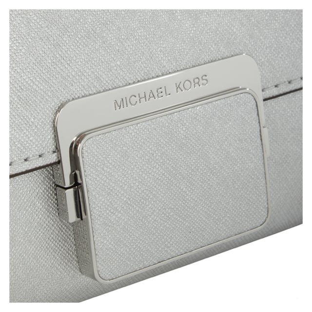 Michael Kors Cynthia Silver Leather Large Clasp Clutch