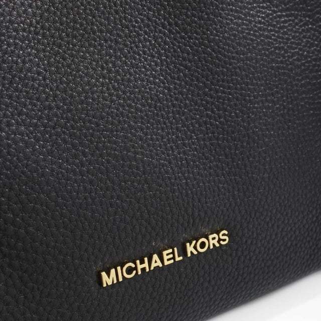 Michael Kors Jet Set Black Leather Medium Messenger Bag