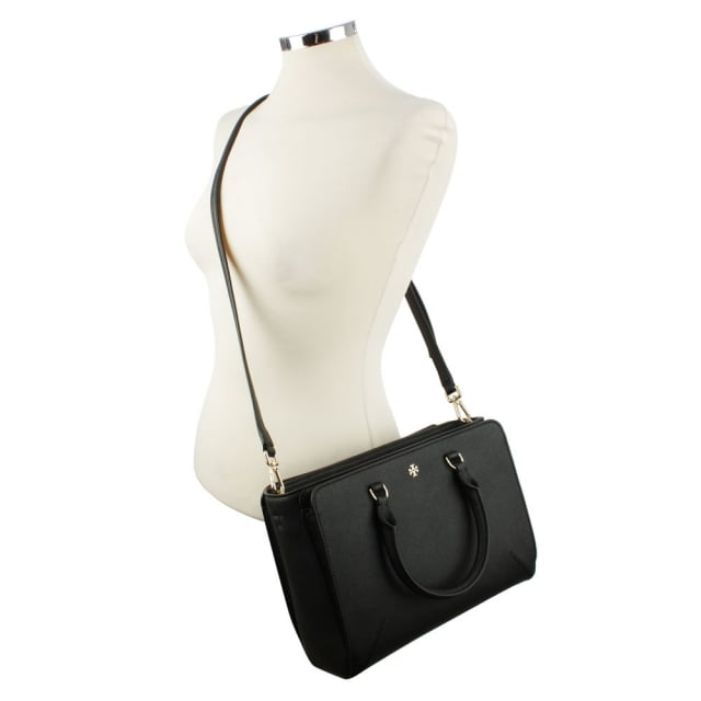 Tory Burch Robinson Black Leather Small Top Zip Tote Bag