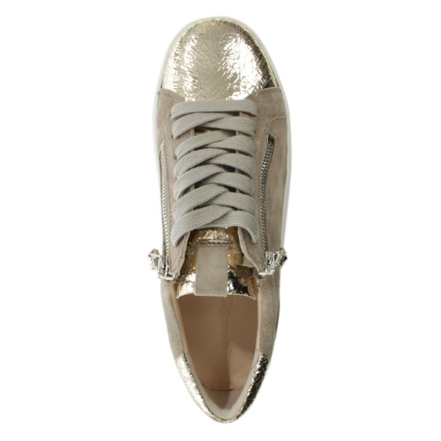 Kennel & Schmenger Towner Gold Metallic Leather Lace Up Trainer