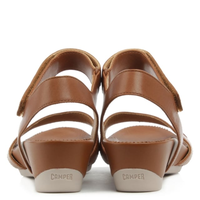 Camper Micro Brown Leather Ankle Strap Velcro Wedge Sandal