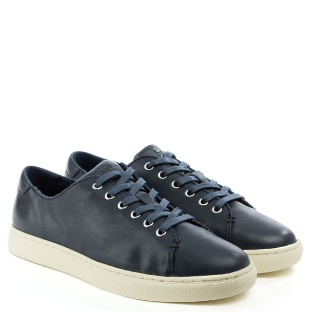 Lauren by Ralph Lauren Waverly Navy Leather Lace Up Trainer