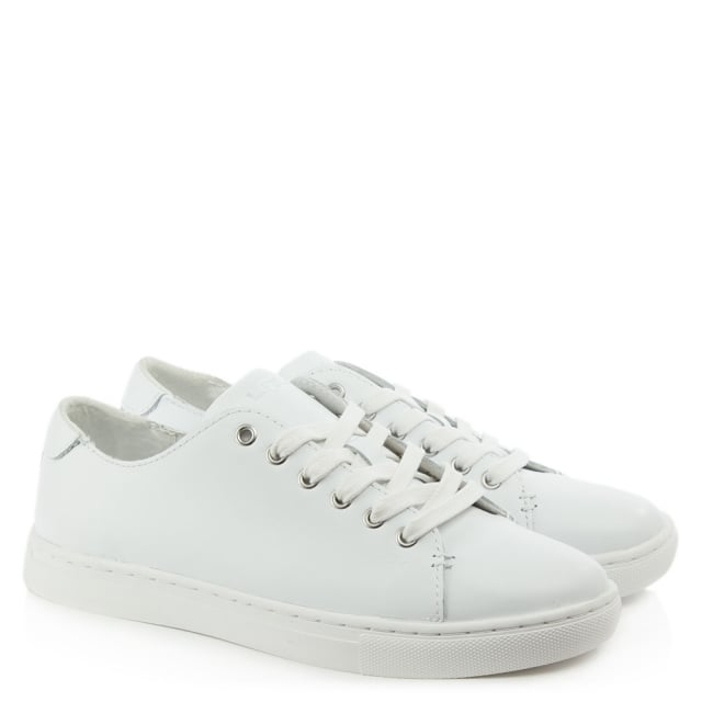 Lauren by Ralph Lauren Waverly White Leather Lace Up Trainer