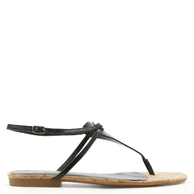 Lauren by Ralph Lauren Anita Black Leather Toe Post Sandal