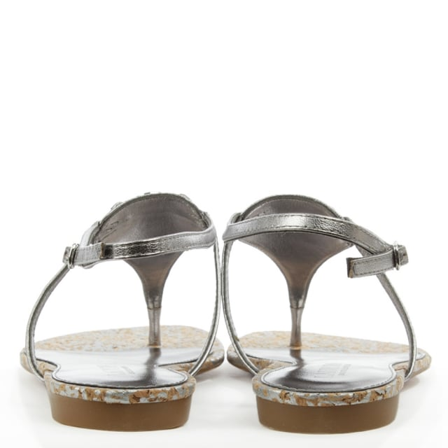 Lauren by Ralph Lauren Anita Pewter Leather Toe Post Sandal