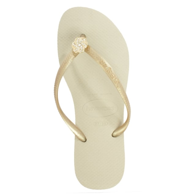 Havaianas Rose Gold Slim Crystal Poem Women's Flip Flop