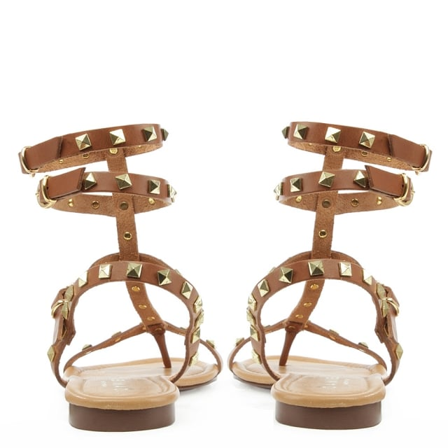 Daniel William Square Tan Leather Studded Gladiator Sandal