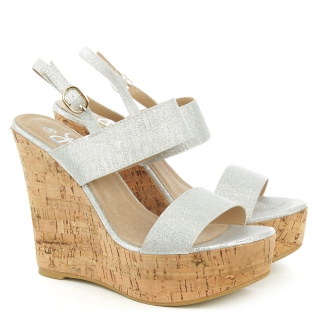 DF By Daniel Wirral Silver Shimmer High Cork Wedge Sandal