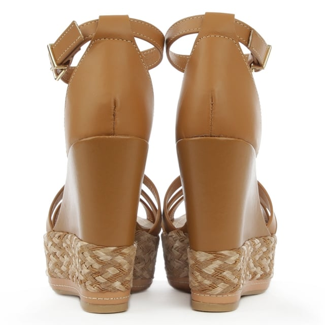 Daniel Palmira Tan Leather Beaded T Bar Wedge Sandal
