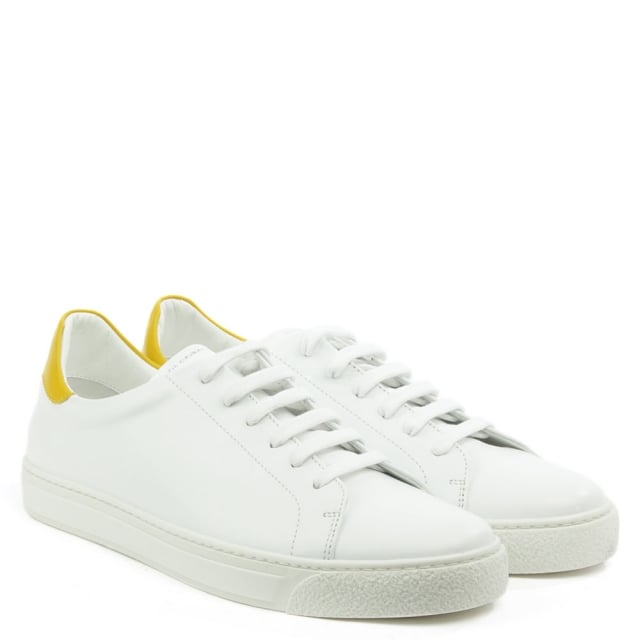 Anya Hindmarch Wink White Leather Lace Up Tennis Trainer