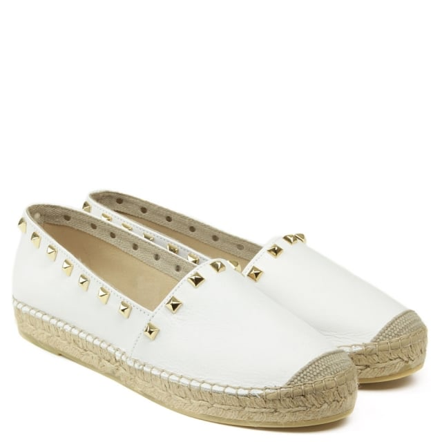 Daniel San Antonio White Leather Studded Espadrille