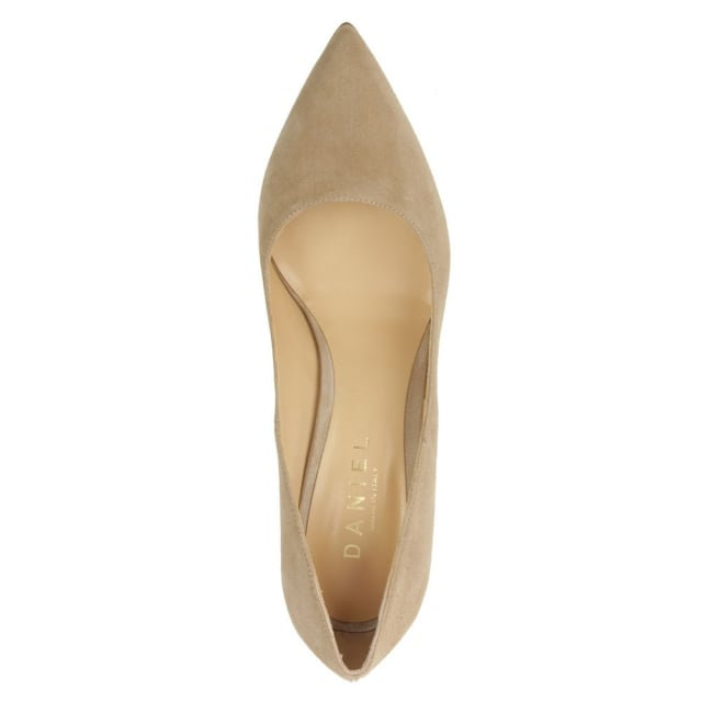 Daniel Modest Beige Suede Pointed Court Shoe