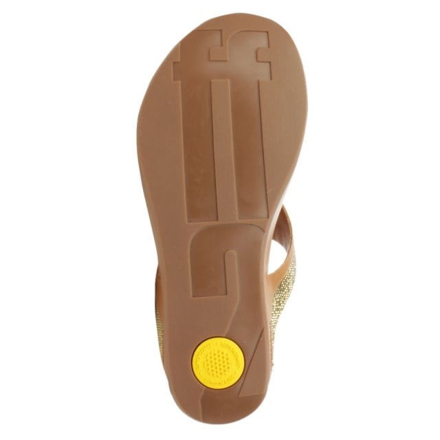 FitFlop Banda Micro Crystal Tan Leather Toe Post
