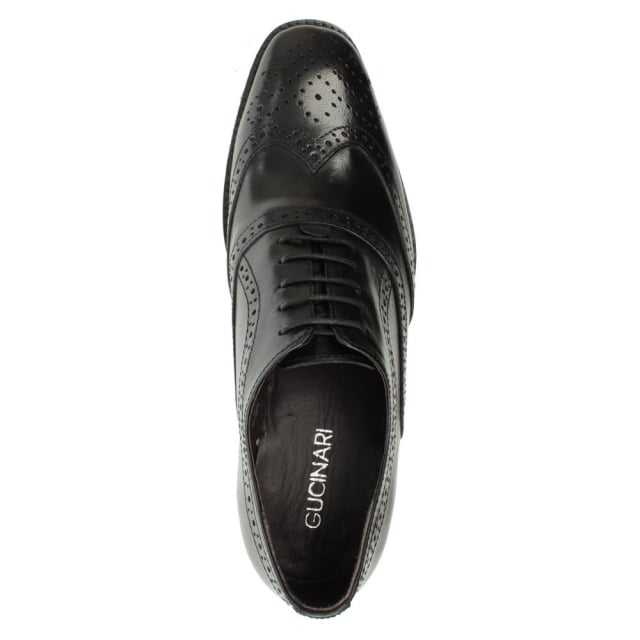 Gucinari Black Leather Lace Up Brogue