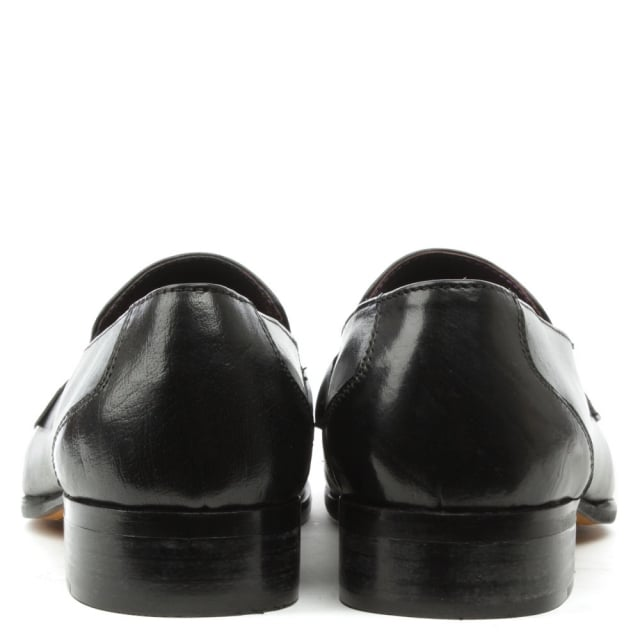 Gucinari Black Leather Buckle Loafer