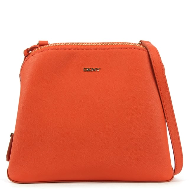 DKNY Bryant Zip Orange Leather Cross-Body Bag