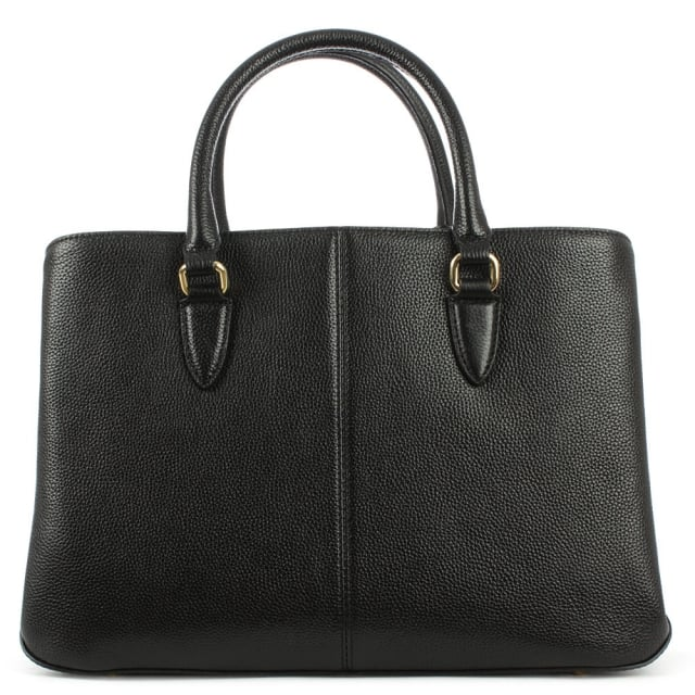 DKNY Chelsea Black Leather Structured Shopper