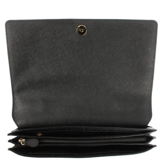 DKNY Bryant Triple Gusset Black Leather Flapover Cross-Body Bag