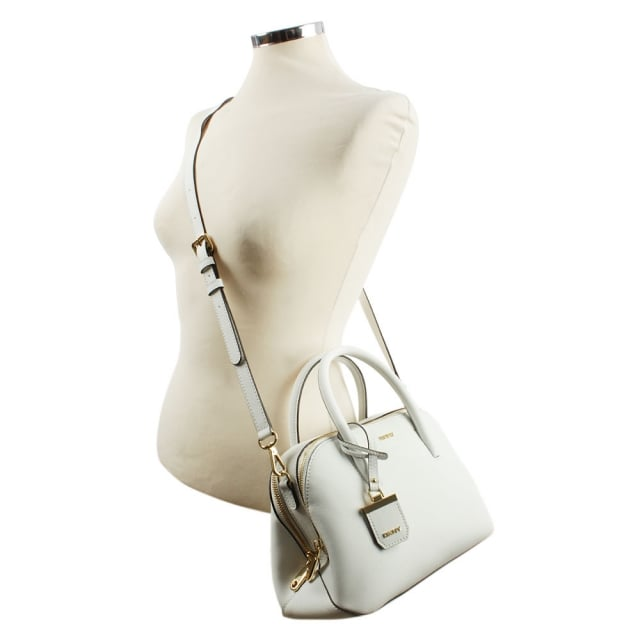 DKNY Bryant Zip Small White Leather Satchel Bag