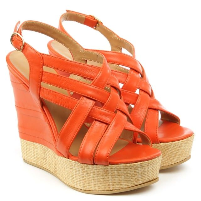 Angela Oryx Orange Leather Criss Cross Raffia Wedge Sandal