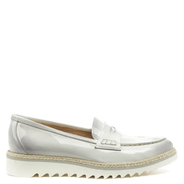 Calpierre Oster Grey Leather Painted Raffia Trim Loafer