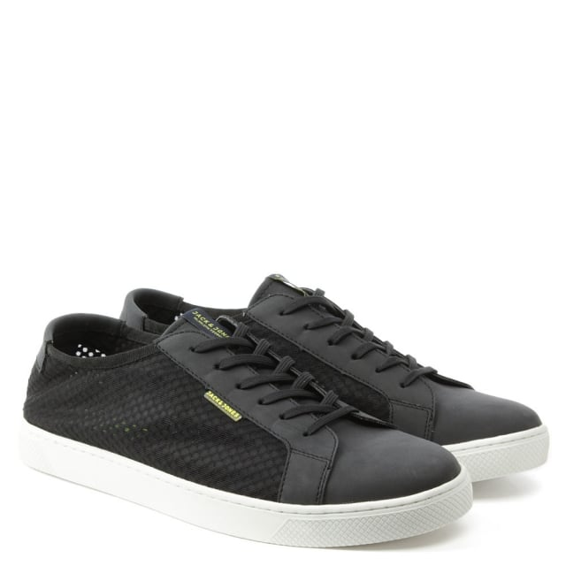 Jack & Jones Sable Mesh Black Lace Up Trainer