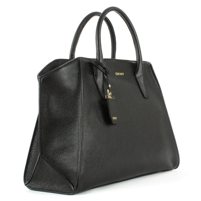 DKNY Chelsea Large Black Leather Satchel Bag