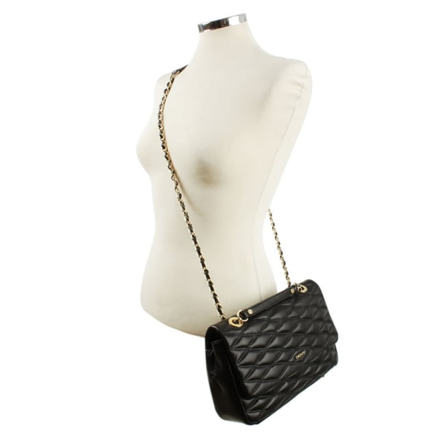 DKNY Gansevoort Quilted Black Nappa Leather Shoulder Bag
