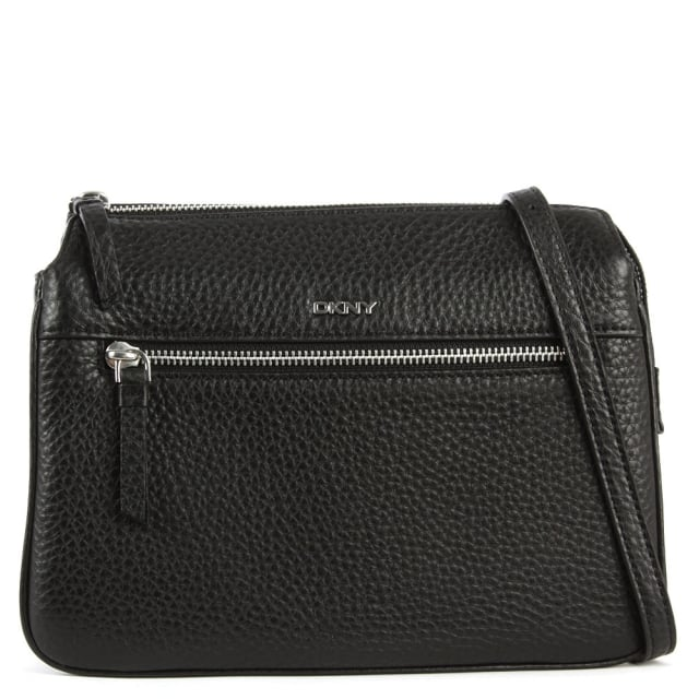 DKNY Tribeca Black Leather Triple Compartment Cross-Body Bag