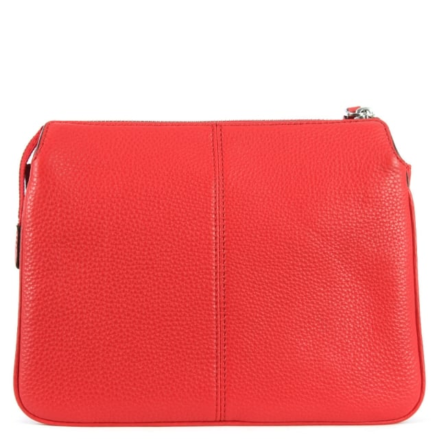 DKNY Tribeca Vermillion Leather Triple Compartment Cross-Body Bag