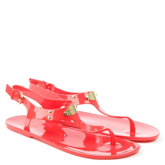 Michael Kors Plate Jelly Coral Reef Toe Post Sandal