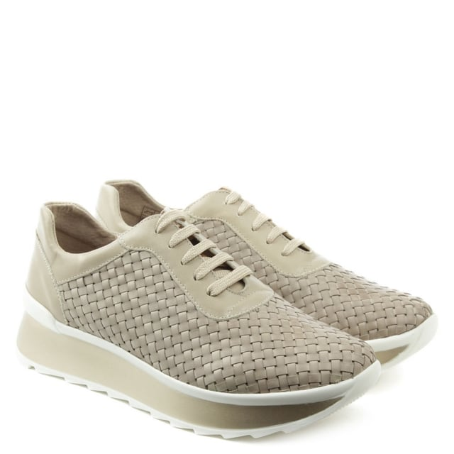 Vitti Love Alluvia Taupe Leather Woven Platform Trainer