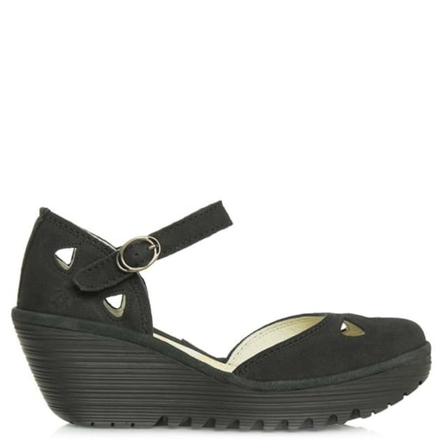 Fly London Yuna Black Suede Close Toe Sandal