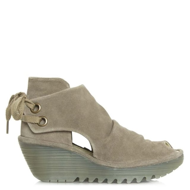 Fly London Yema Taupe Suede Lace Up Wedge Sandal