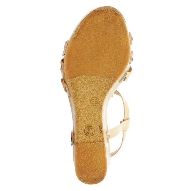 Daniel Prati Grace Tan Leather Wooden Wedge Sandal