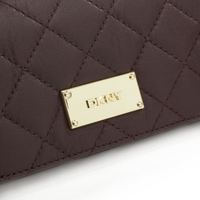 DKNY Gansevoort Quilted Carryall Burgundy Leather Wallet