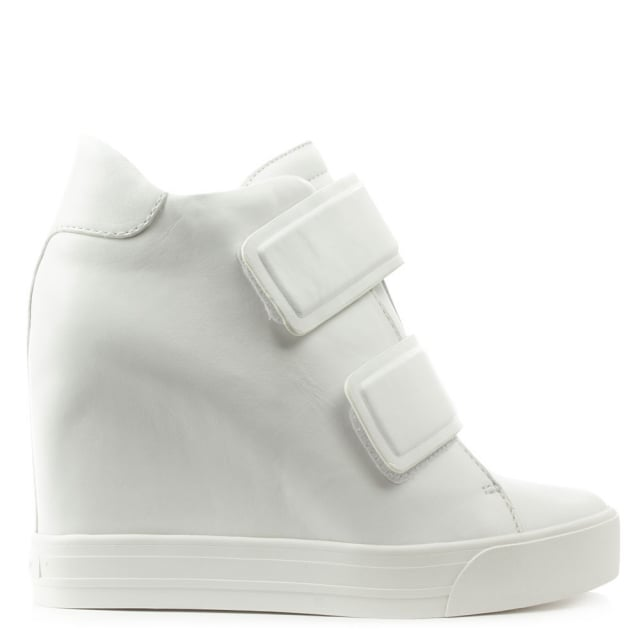 DKNY Grayson White Leather Wedge High Top Trainer