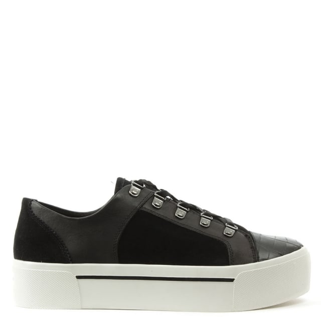 DKNY Briana Black Suede & Leather Lace Up Flatform Trainer