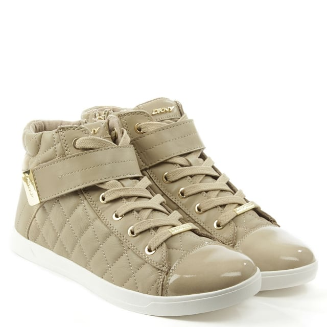 DKNY Betty Taupe Quilted Leather High Top Trainer