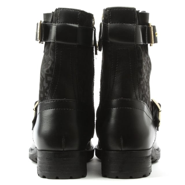DKNY Naomi Black Leather Heritage Logo Biker Boot