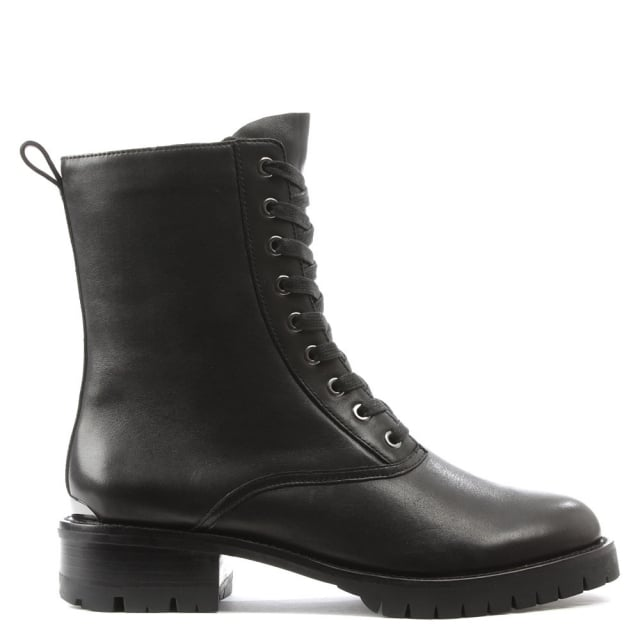 DKNY Melissa Black Leather Lace Up Biker Boot