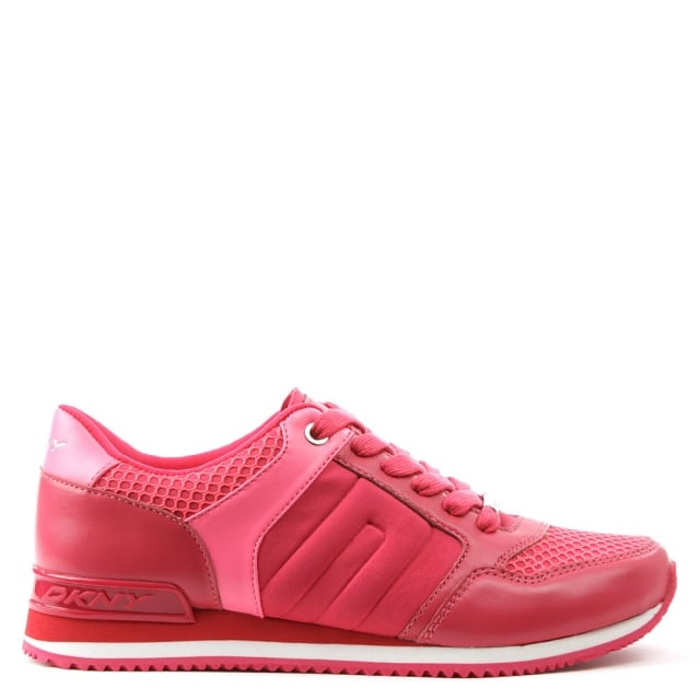 DKNY Jill Pink Leather & Scuba Lace Up Trainer