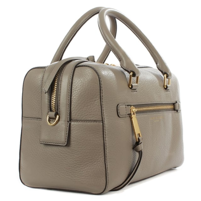 Marc Jacobs Recruit Bauletto Taupe Leather Bowler Bag